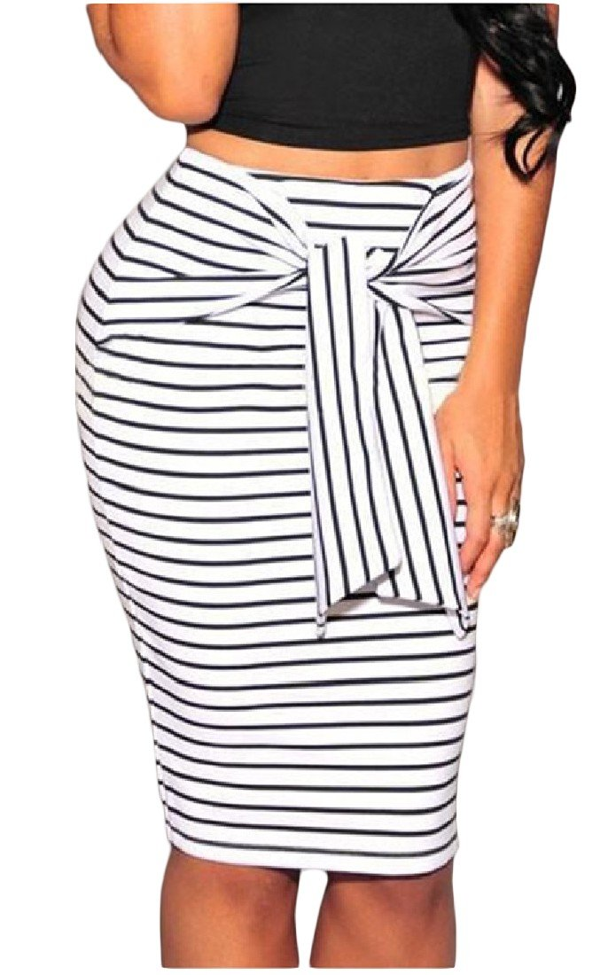 FreelyWomen Strappy High Waist Striped Skinny High A-Line Pencil Skirt White XS