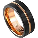 PiercingJ Mens 8mm Black Matte Finish Tungsten Carbide Wedding Band Rose Gold Plated Beveled Anniversary Engagement Rings us 8 - 12 + Gift Box