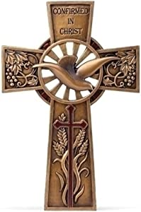 "7.75"" Resin Bronze Finish Confirmation Wall Cross"