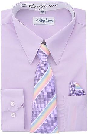 Berlioni Paragon Tiendas Boy Camisa de Vestido, Cuello, y pañuelo Set – Muchos Colores y Combinaciones de Patrones