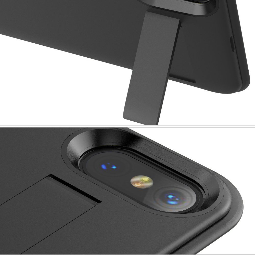 MbuynowChargeur à Induction Sans Fil5000mAh Coque Batterie Externe Portable Power Case pour iPhoneXavec Indicateur de LED Wireless Batterie Case 2 en 1 Rechargeable Étui de Protection Prolongée-Noir
