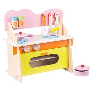 Cucina Per Bambini 10 Pezzi Gioco Giocattolo In Legno Kitchen Toys ...