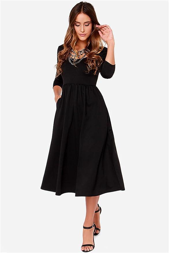 Sheinside - Vestido - para mujer negro Large: Amazon.es: Ropa y accesorios
