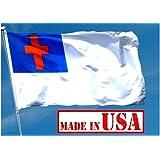 US Flag Factory - 4'x6' Christian Flag (Sewn Cross) - 100% American Made - Outdoor SolarMax Nylon - Premium Quality