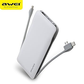 AWEI - Cargador portátil de 10000 mAh con Cable Integrado y ...