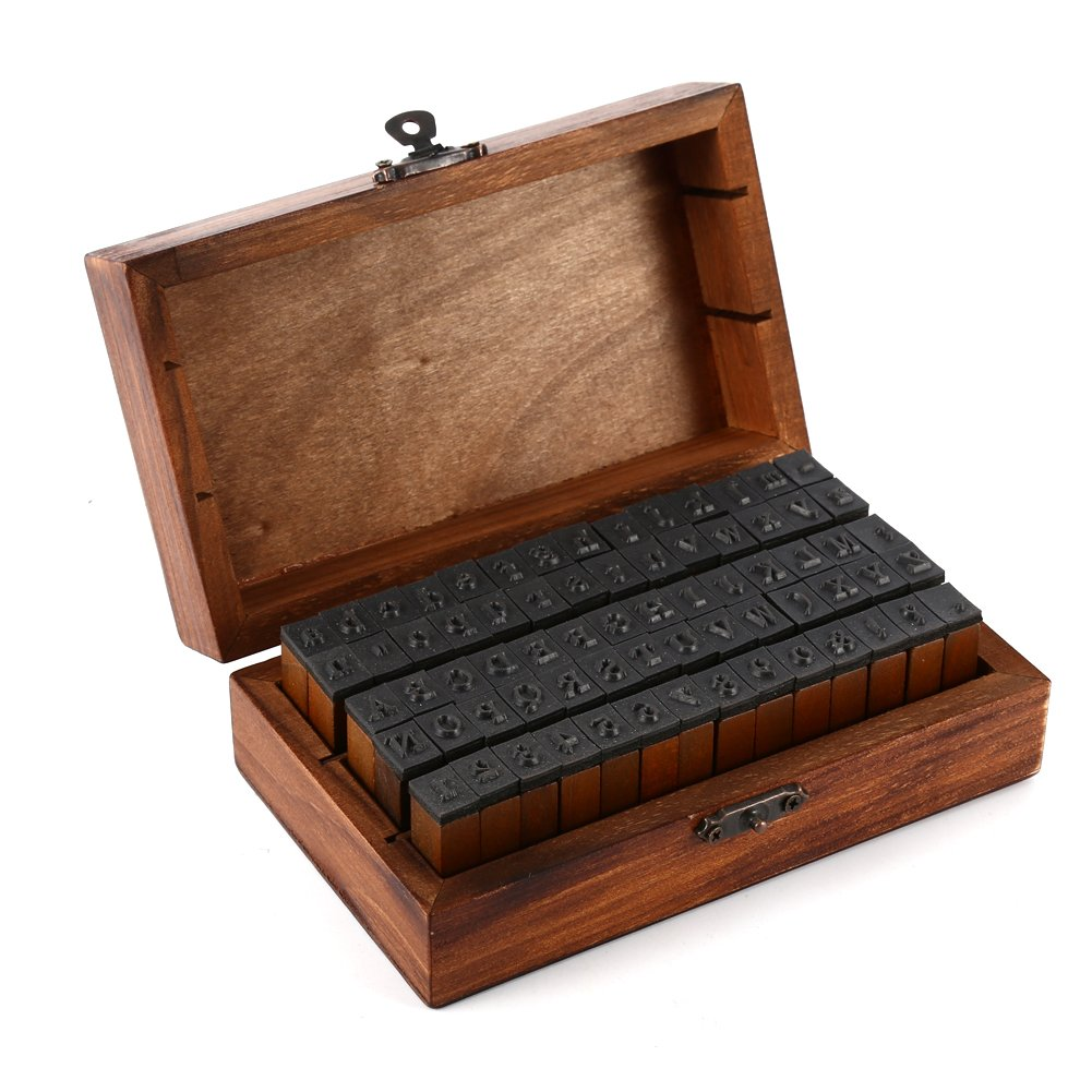 LanLan Toy Wooden Rubber Stamp Box - Vintage Style -Diary Stamps 70 Pcs Number Stamp Letter and Number Stamp Set