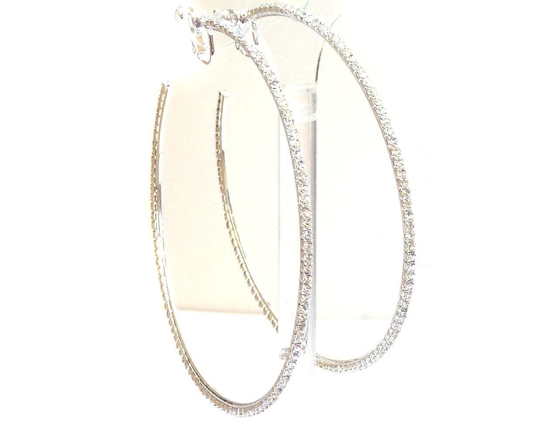 Clip-on Earrings Silver Tone Rhinestone Hoop Earrings 4 Inch Crystal Hoop Earrings na