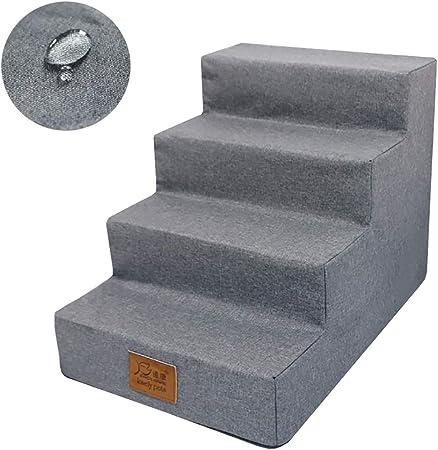 Escalera de Mascota 4 Pasos Escaleras para Perros con Cubierta Impermeable - Rampa para Mascotas para Perros pequeños, Gatos medianos - Pasos portátiles para Cachorros - Alto 40cm / 15.7 Pulgadas: Amazon.es: Hogar