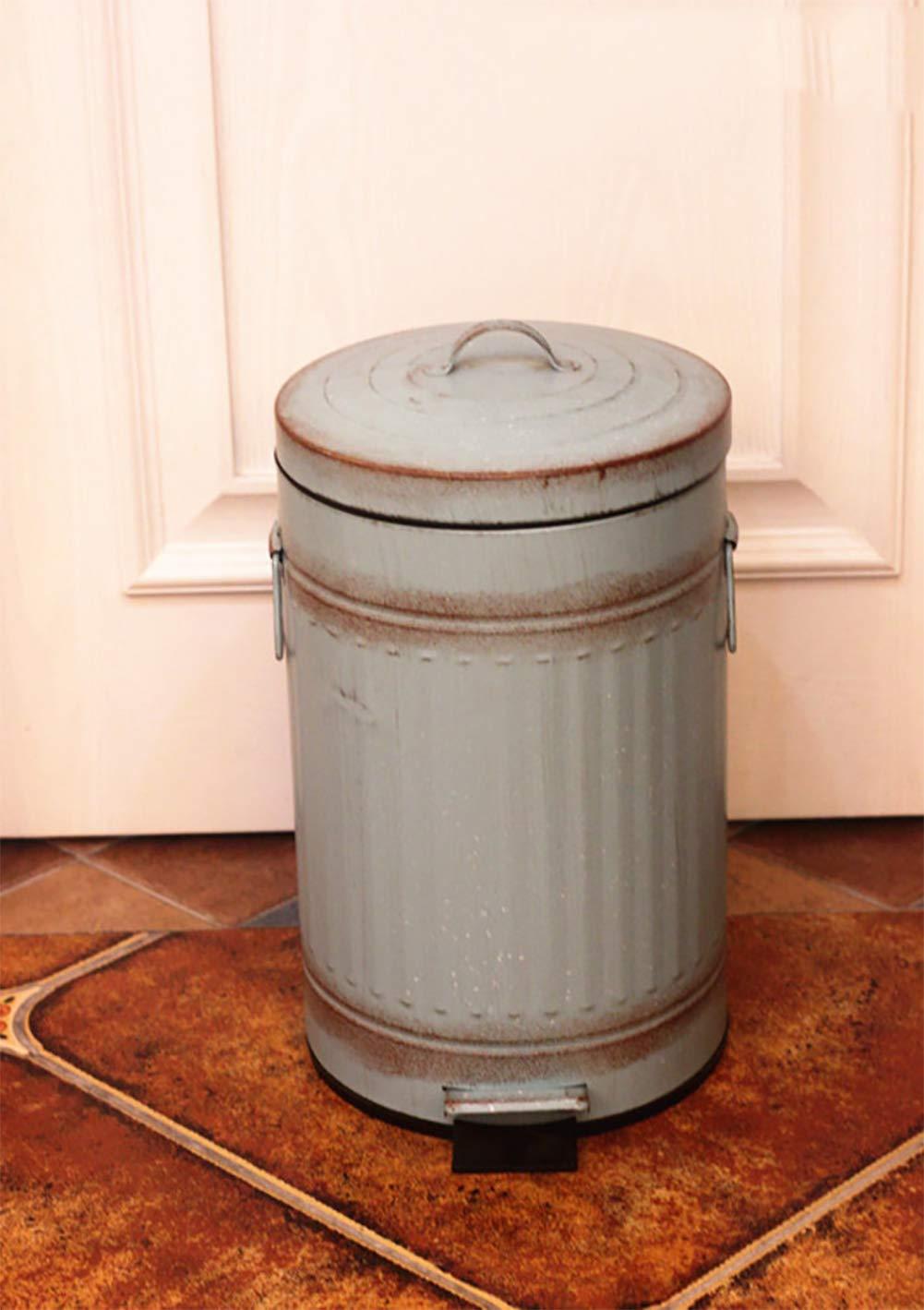 GWW Vintage Metal Cubo de Basura,Casa Pedal Bin con Cubo Interior y Tapa Redonda Papelera de Pedal en para la Cocina-B 20.5x31cm 8x12inch