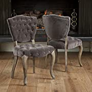 Best Selling Lane Tufted Fabric Dining Chair, Charcoal, Set of 2