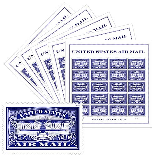 USPS Forever First Class Stamp: Air Mail Blue, 5 Sheets (100 Stamps) Wedding Celebration