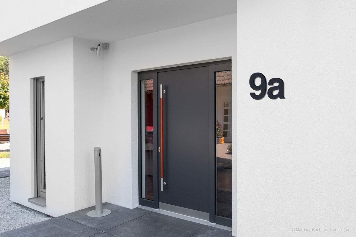Thorwa/® Design V2A Edelstahl Hausnummer Feinstruktur beschichtet RAL 7016 anthrazit grau 20cm 6