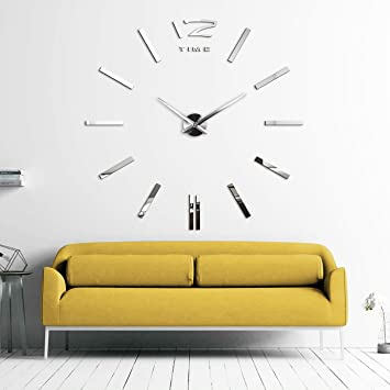 trendy xxld grande horloge murale xxl cm miroir geante. Black Bedroom Furniture Sets. Home Design Ideas