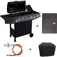 TAINO® Basic Gasgrill Grillwagen BBQ Edelstahl-Brenner + Seitenkocher Gas-Grill TÜV Schwarz (4+1 Gasgrill Set + Grillplatte)