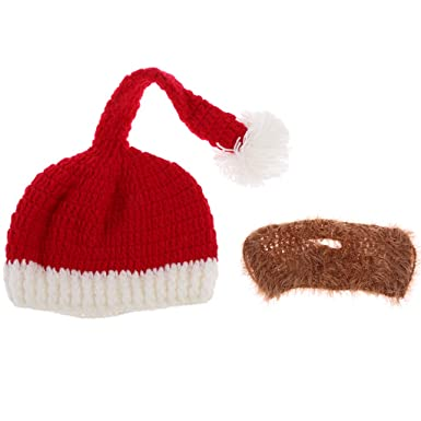 Phenovo Winter Warm Santa Hat Beard Red White Father Fancy Dress