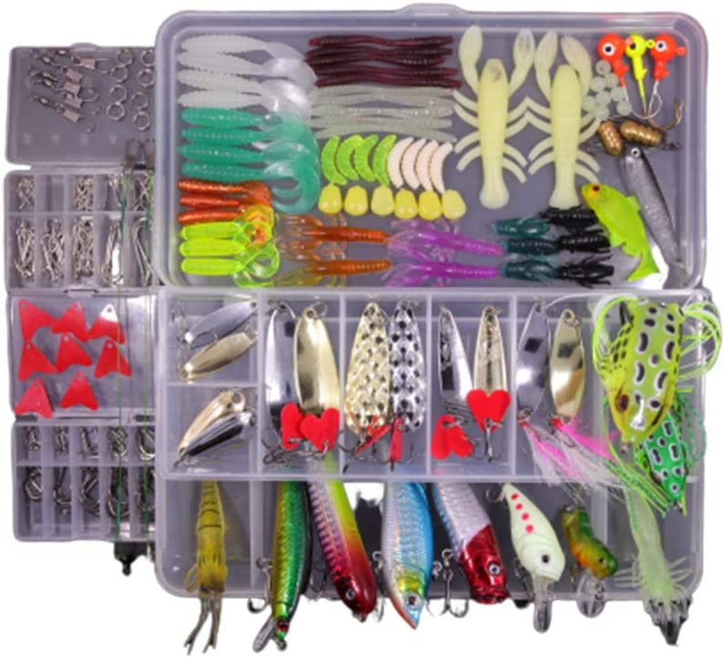 ABS+PVC Fishing Tackle Gear Lures Kit Set Easy to Carry Fishing Lure Shrimp Tool Set with Tackle Box