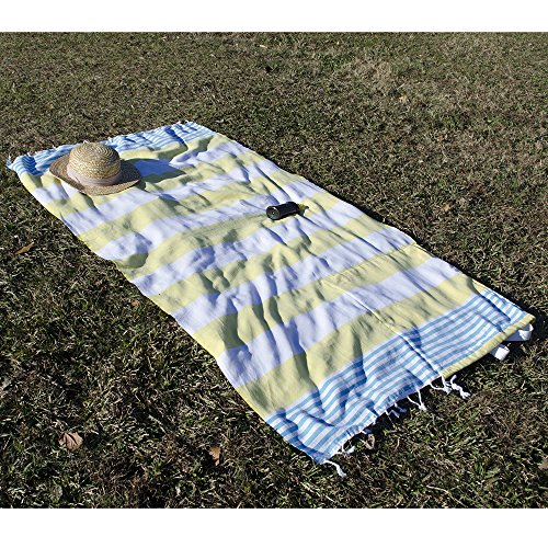 Birchwood Turkish Beach Towel/Bag, Yellow/Aqua by Birchwood (Image #2)