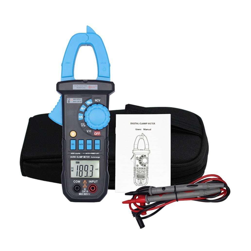 Braceus Portable Range Digital AC DC Current Clamp Meter Multimeter Voltage Detector Black + Blue