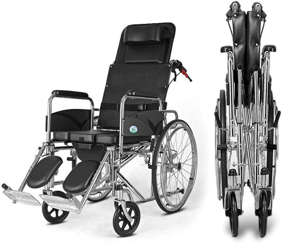 電動車椅子LANJX 横たわる用車椅子オーバートイレ-折りたたみ交通車椅子看護トロリー、ホームでの障害者のための光バスチェア 13 (色 : 黒)