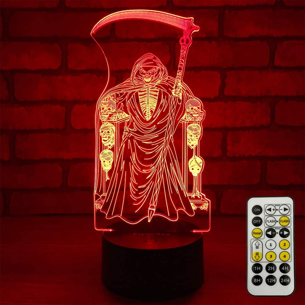 FlyonSea Grim Reaper Light Cool Room Decor, Skull Light Bedside Lamp, Timer, 7 Colors Changing, Remote & Smart Touch, Unique Gifts, Halloween Skull Decor for Men