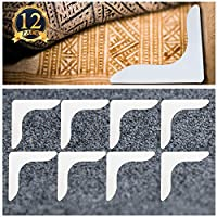 SUBANG 12 Pcs Reusable Rug Gripper V Shape Anti Curling Carpet Gripper Anti Slip Rug Pad for Various Floors and Carpets,White