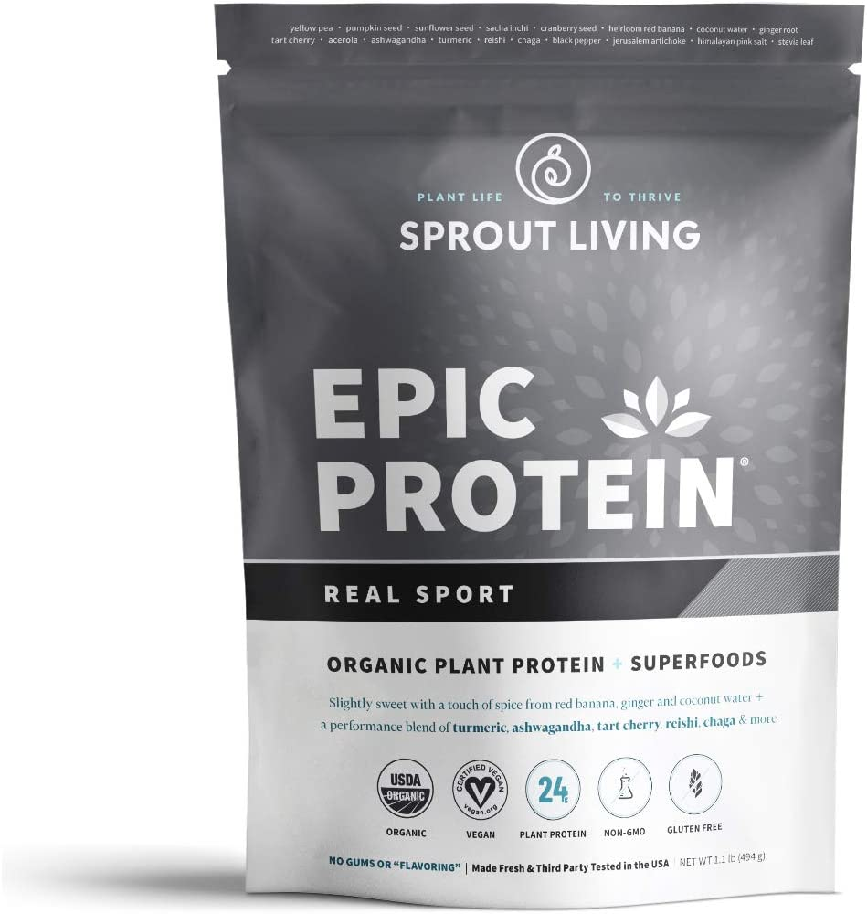 Sprout Living Epic Protein Powder, Real Sport, Organic Plant Protein, Gluten Free, No Additives, 24 Grams Protein, Performance and Recovery 1.1 Pound,13 Servings