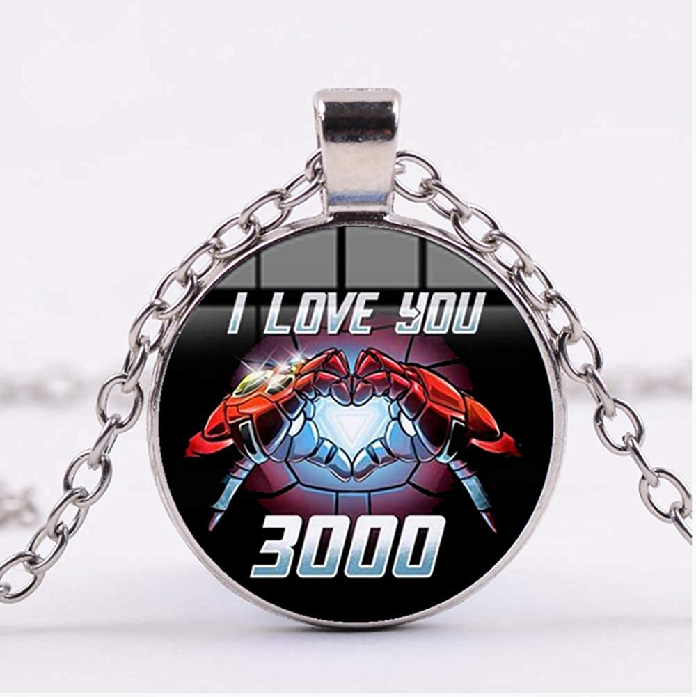 Iron Man Tony Stark Heart I Love You 3000 Times Necklace Fashion The Avengers 4 Endgame 3d Printed Glass Dome Round Pendant