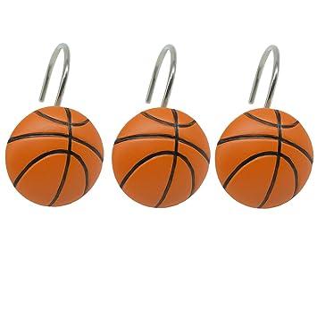 Amazon.com: Doupoo Home Decorative Basketball Shower Curtain Hooks ...