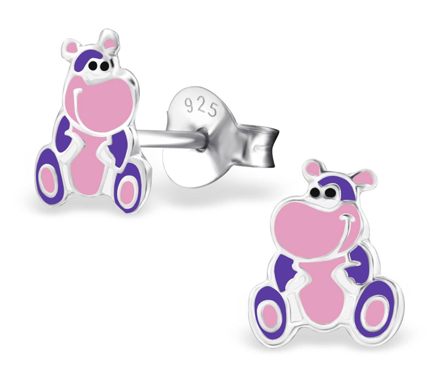 Best Wing Jewelry .925 Sterling Silver Hippopotamus/Hippo Children's Stud Earrings by Best Wing Children's Earrings (Image #1)