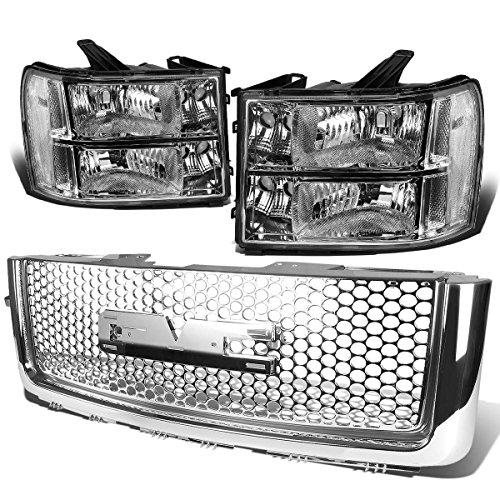 For GMC Sierra GMT900 Pair of Chrome Housing Clear Corner Headlight+Chrome Front Grille