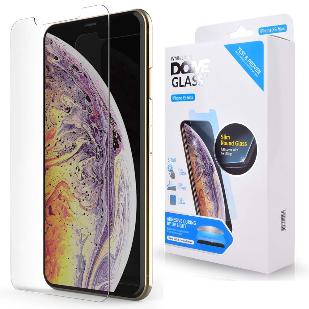 iPhone Xs MAX Screen Protector Tempered Glass, Full Cover Screen Shield [No UV Light Included] Backup Kit by Whitestone for Apple iPhone 10s MAX (2018) - Replacement Only by Dome Glass