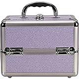 Sunrise C0211 4-Tiers Expandable Trays Makeup Train Case Shoulder Strap Key lock, Purple Krystal