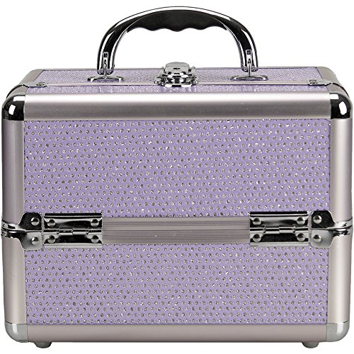 UPC 616639395044, Sunrise C0211 4-Tiers Expandable Trays Makeup Train Case Shoulder Strap Key lock, Purple Krystal