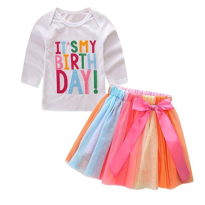 3a9d5eab94e02 1-7 Anni Bambino Lettere Bambine T-Shirt + colorato Arcobaleno gonne Regalo  Compleanno Abiti Set  Amazon.it  Abbigliamento
