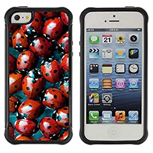 WAWU Rugged Armor Slim Protection Case Cover Shell -- ladybug red bug spots pattern nature -- Apple Iphone 5 / 5S