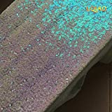 LQIAO Iridescent White Sequin Table Runner-14x108inch Sparkly Shimmer Sequin Fabric, Sequin Table Runner, Sequin Tablecloth, Table Linens Wedding Dining Party Shiny Decoration(18PCS)