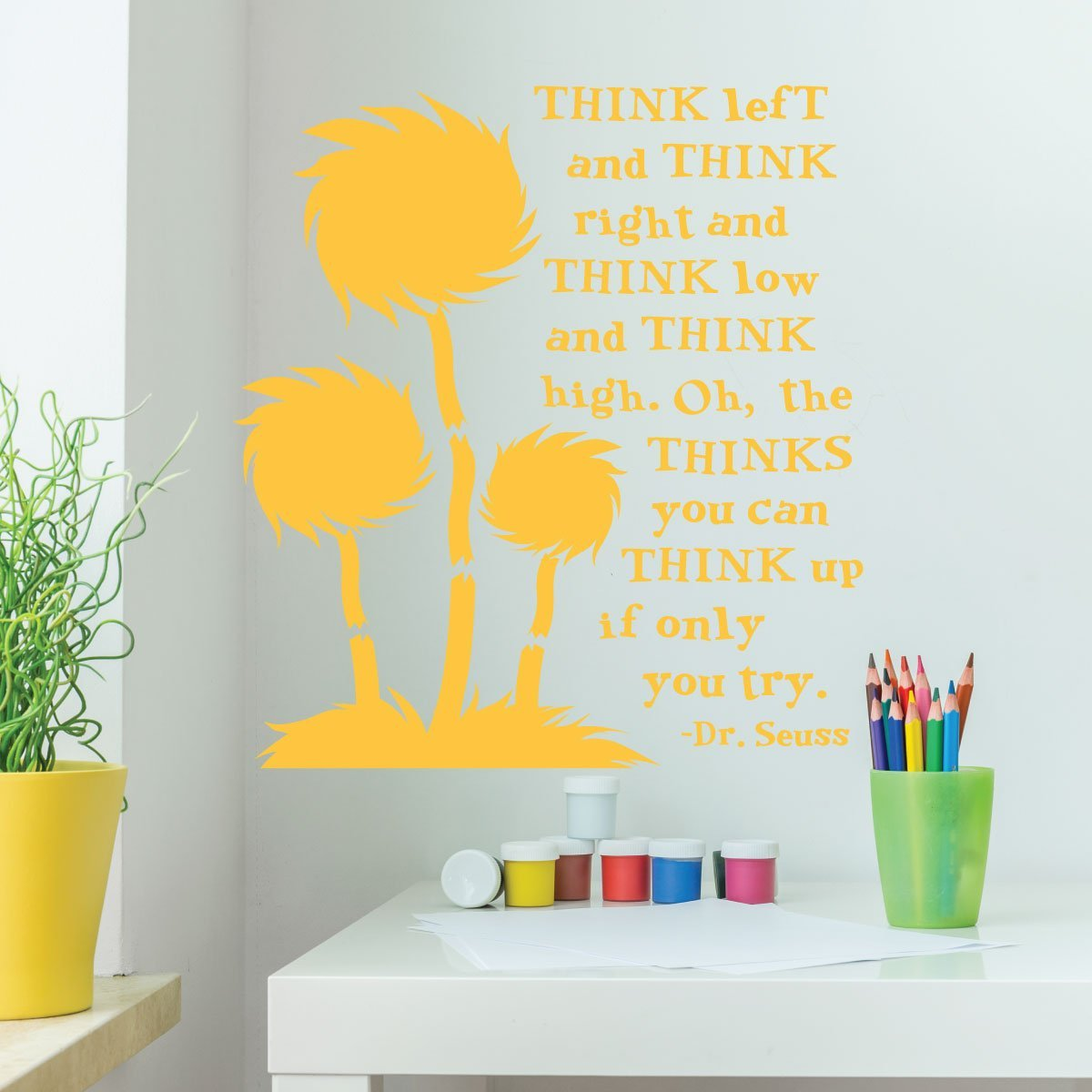 Amazon.com: Dr. Seuss Wall Decor for Classrooms- Think Left And ...