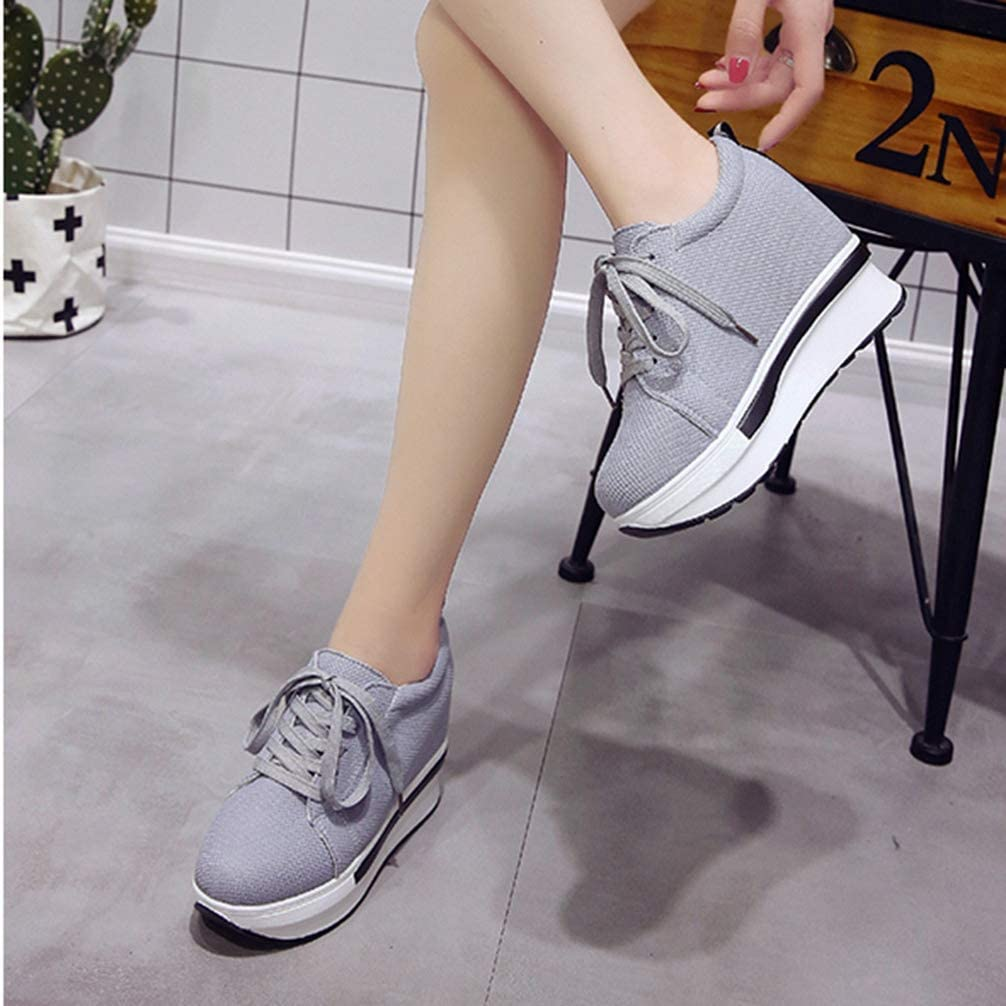 Lady Fashion Casual Canvas Thick Platform Lace up Wedges Sneakers Women