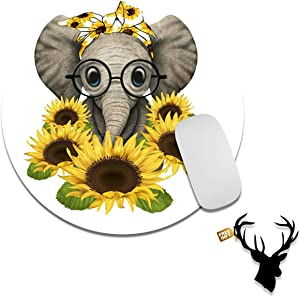 Gaming Mouse Pad Mat Elephant with Sunflower Mousepads with Cute Stickers Non-Slip Rubber Base Round Mouse Pads for Laptop Compute Working Home Office Accessories