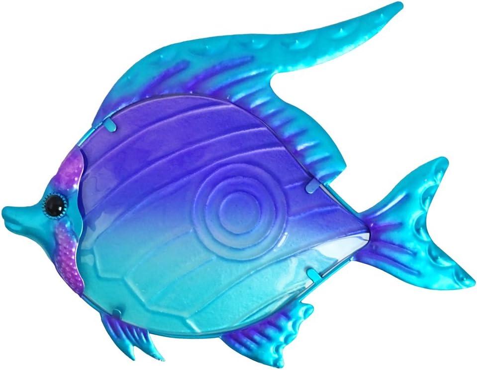 "Comfy Hour 10"" Purple Blue Metal Art Fish Wall Decor"