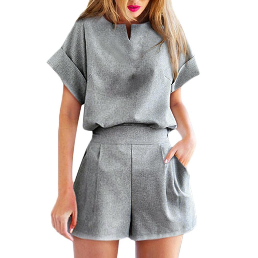 Women Plus Size Casual V Neck Top Blouse Short Sleeve+Solid Short Pants Linen 2Pcs Outfit Sets WYTong Outfits-01