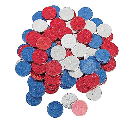 Patriotic Bubblegum Coins Candy 100