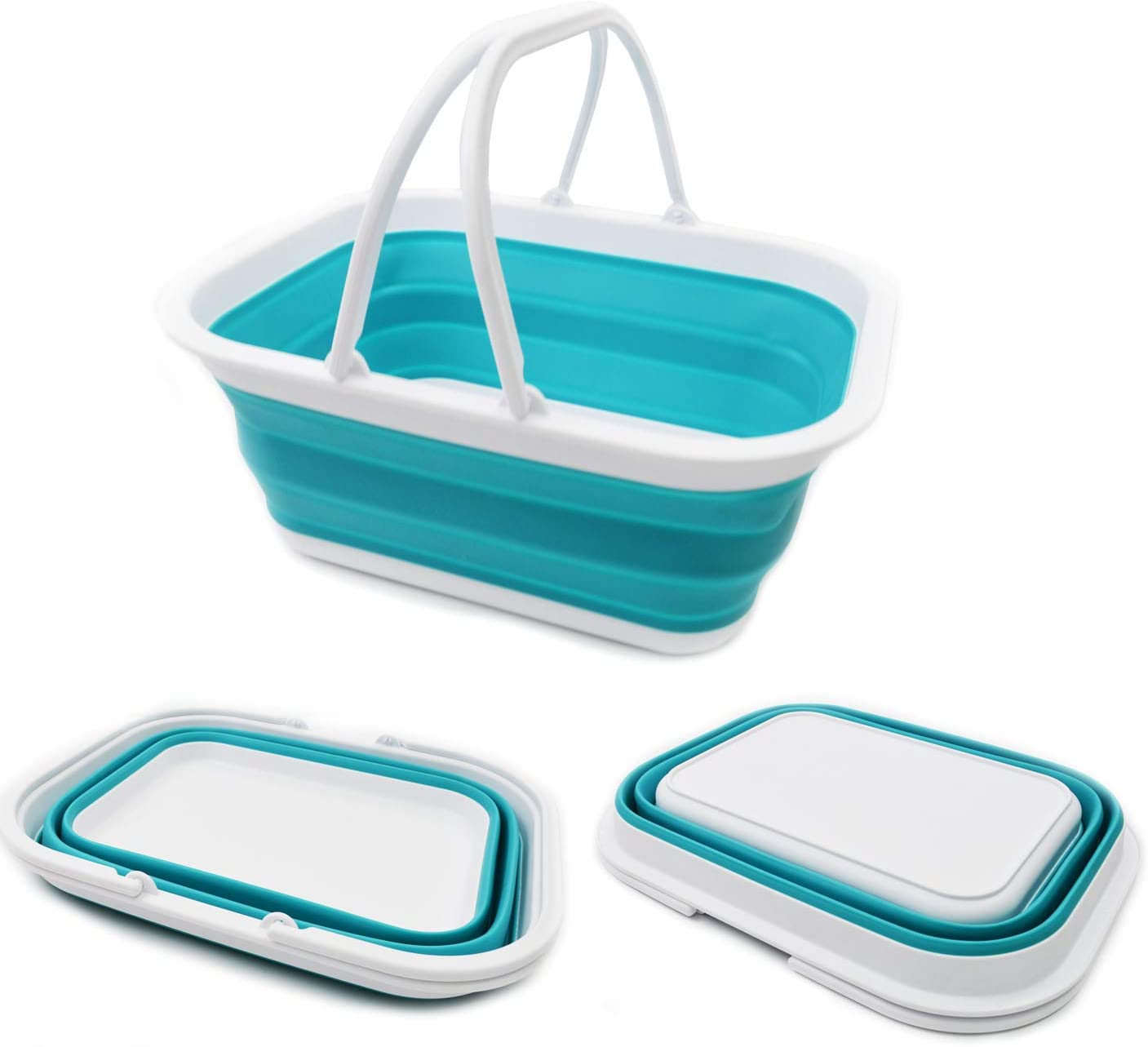 SAMMART 15.5L (4.1 Gallon) Collapsible Tub with Handle - Portable Outdoor Picnic Basket/Crater - Foldable Shopping Bag - Space Saving Storage Container (Bright Blue)