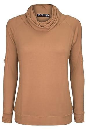 Oops Outlet Damen Kalt Ausschnitt Schulter Rollkragen Angepasst Dehnbar  Langärmeliges Top T-Shirt Oberteil Plus