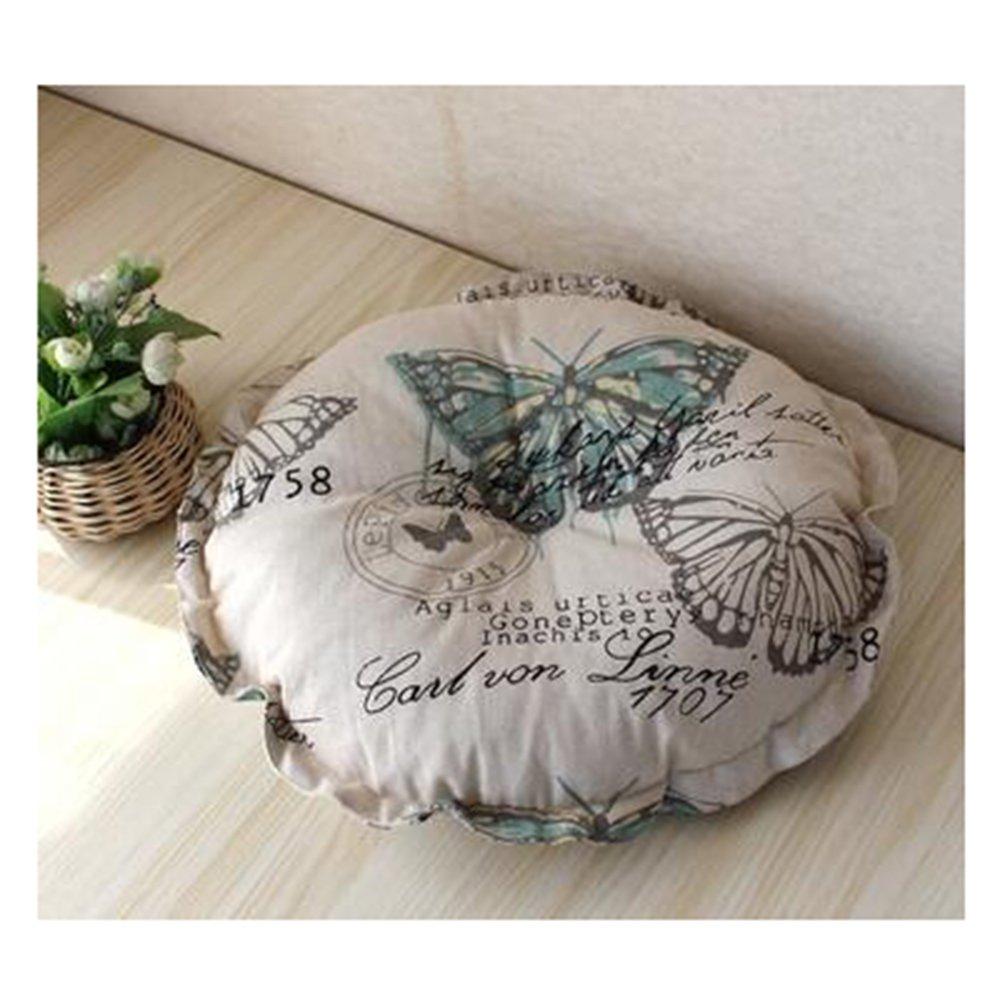luckyshdリネン床枕ラウンドチェアパッドインドアアウトドアシートクッションウィンドウパッド one size Pillow-0075  バタフライ B076HP9SQB