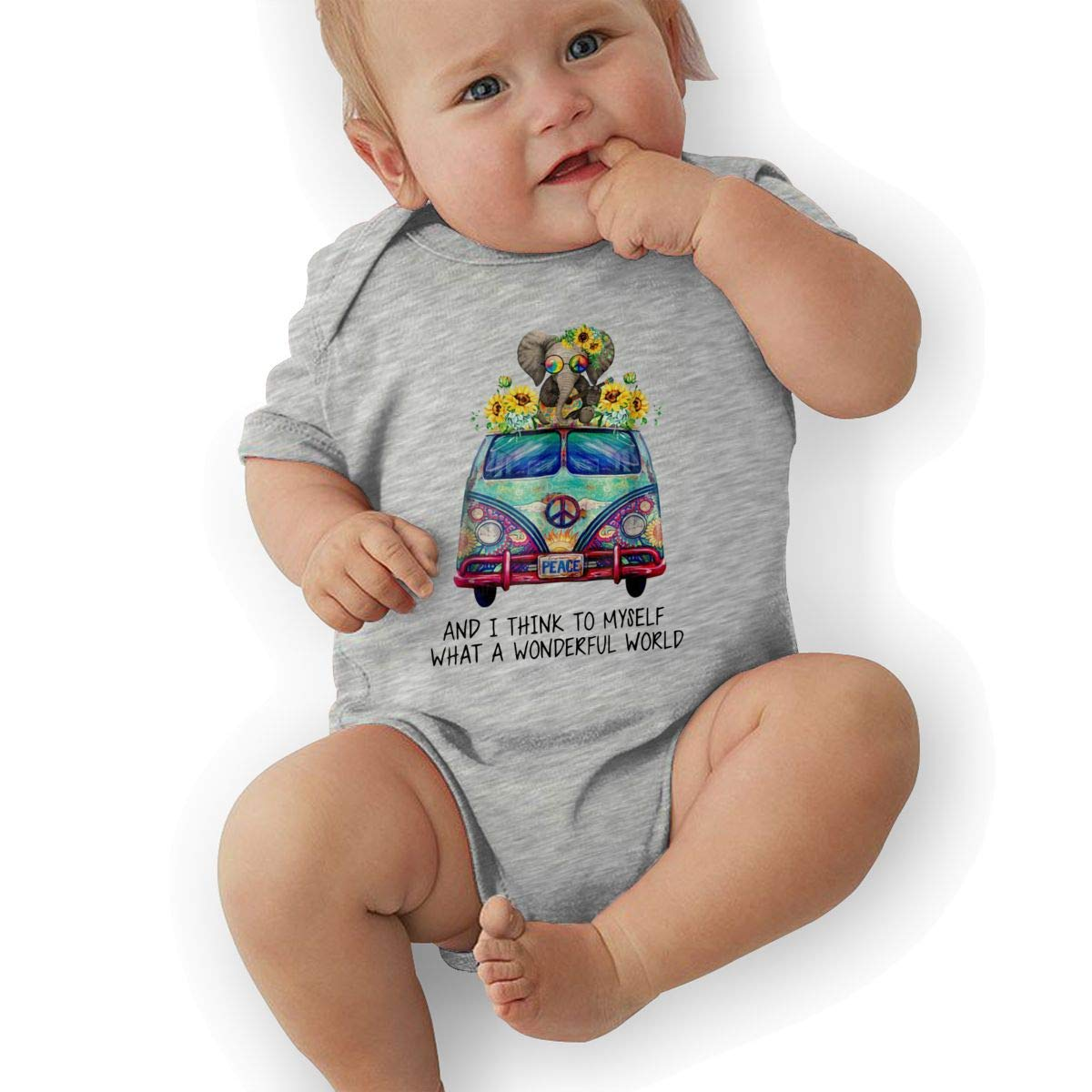 and I Think to Myself What A Wonderful World Baby Boys Girls Jumpsuit Overall Romper Bodysuit Summer Clothes Gray