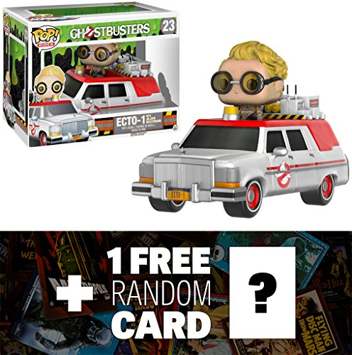 Ghostbusters Ecto-1 & Jillian Holtzmann: Funko POP! Rides x Vinyl Figure + 1 FREE Classic Sci-fi & Horror Movies Trading Card Bundle (076290)