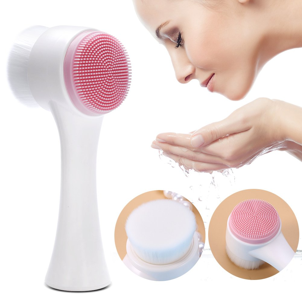 Facial Pore Cleanser Manual Face Wash Cleansing Brush Double Sides Silicone(White) Brino
