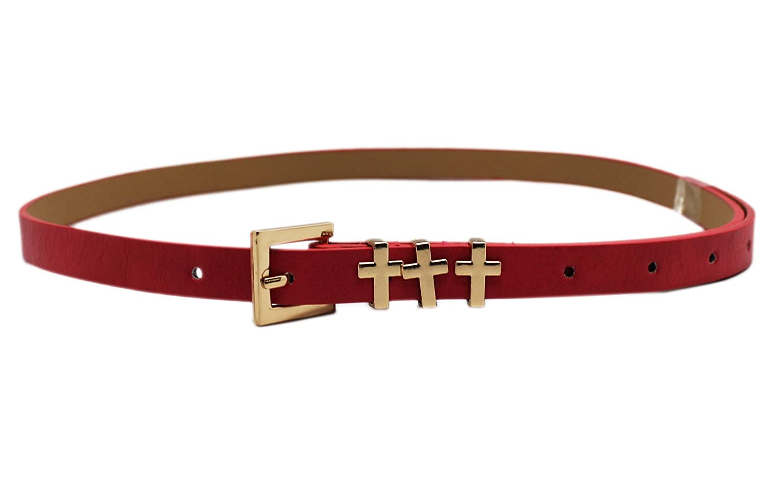 Triple Cross Buckle Red Belt