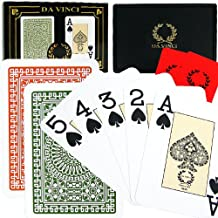 DA VINCI Club Casino, Italian 100-Percent Plastic Playing Cards, 2-Deck Poker Index Set, with Hard Shell Case and 2 Cut Cards